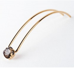 hair pin gold stone swaroswski smoky quartz 13 cm