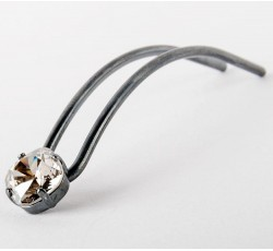 hair pin silver vintage black stone swaroswski silver shade 13 cm