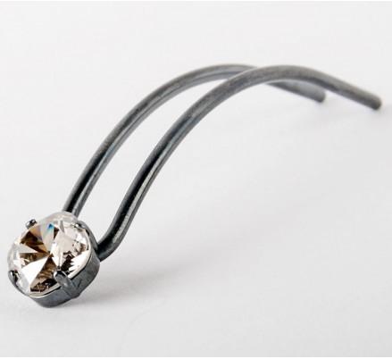 hair pin silver vintage black stone swaroswski silver shade 9 cm